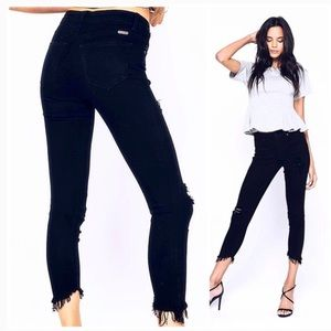 KanCan Black Denim Distressed Frayed Hem Jeans